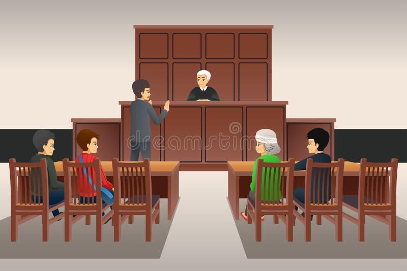 Courtroom Scene Illustration. A vector illustration of Courtroom Scene royalty free illustration