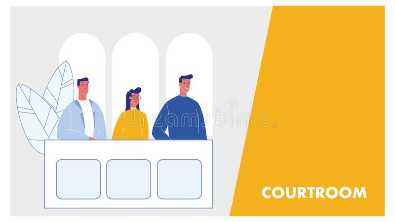 Courtroom Vector Web Banner Layout with Text Space. Jury Trial Process. Prosecutor, Attestor at Bench in Courthouse. Law and Justice. Verdict. Judicial System royalty free illustration