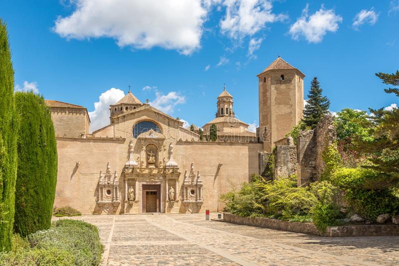 Courtyard of Abbey of Santa Maria de Poblet in Spain stock photos