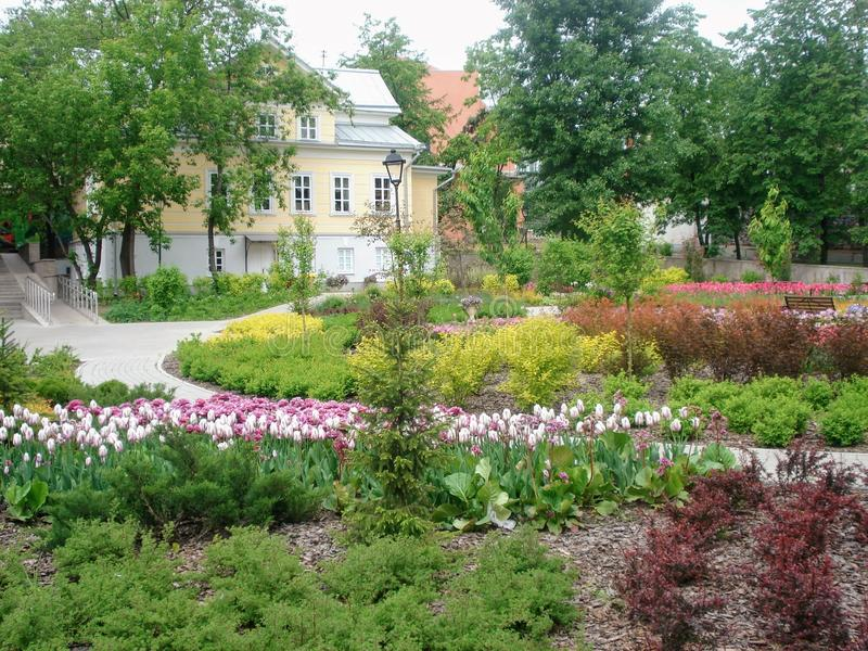 The courtyard in the administrative part of the Moscow zoo. royalty free stock image