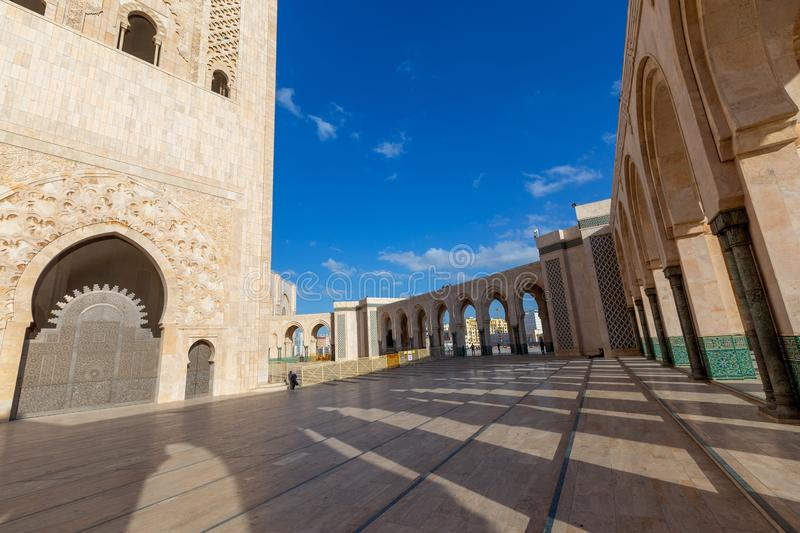 Arcs and columns of Hassan II Mosque stock photos