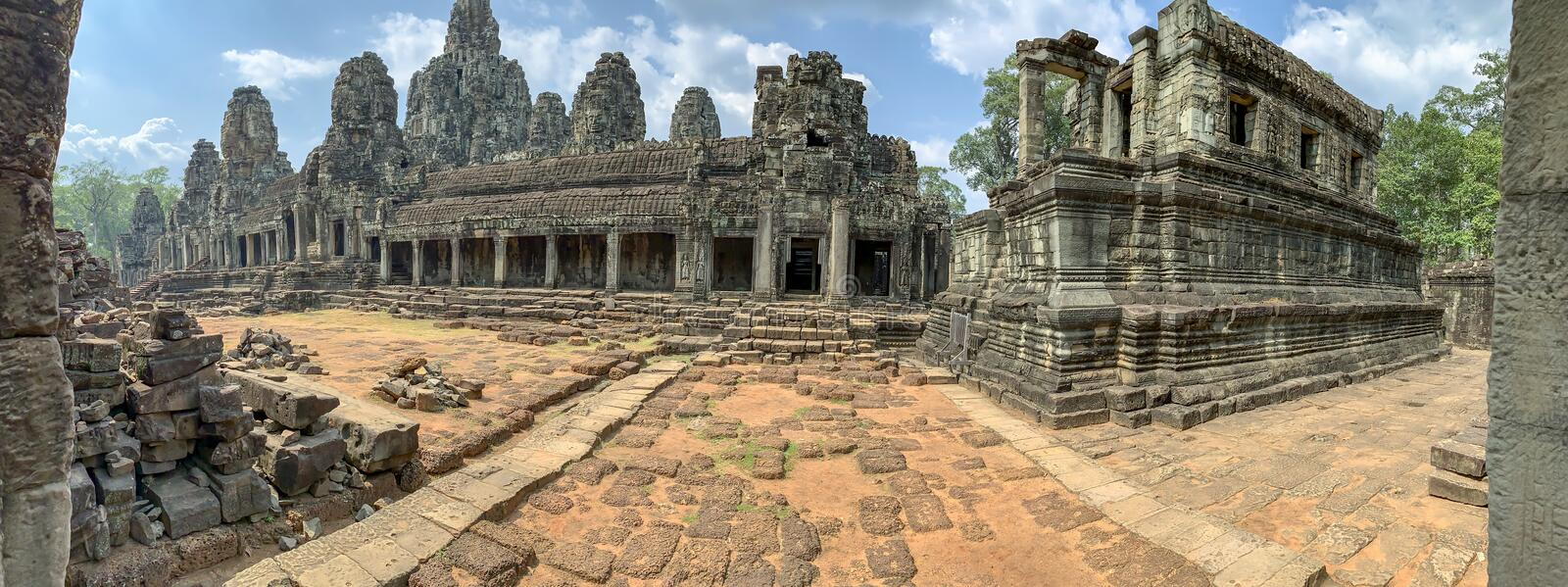Courtyard in Bayon Temple of Angkor Thom in Cambodia stock images