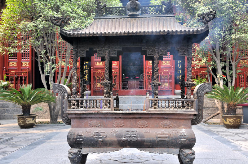 Courtyard and censer in Chinese temple
