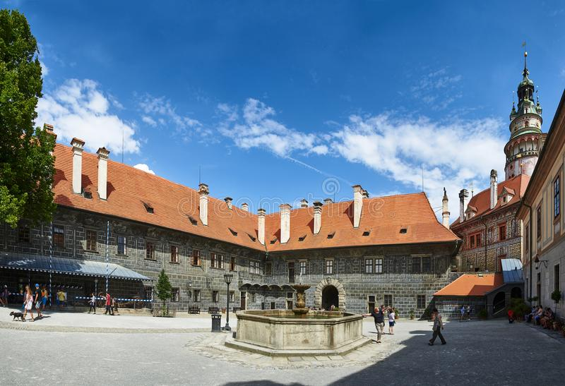 Courtyard of Cesky Krumlov Castle, South Bohemia. Courtyard of the historic tourist attraction Cesky Krumlov Castle in South Bohemia, Czech Republic royalty free stock photography