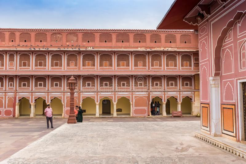Courtyard of the Chandra Mahal building at the city palace in Jaipur stock photos