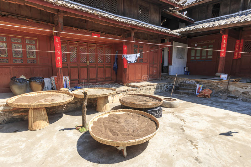 Courtyard of a Chinese farmhouse stock image