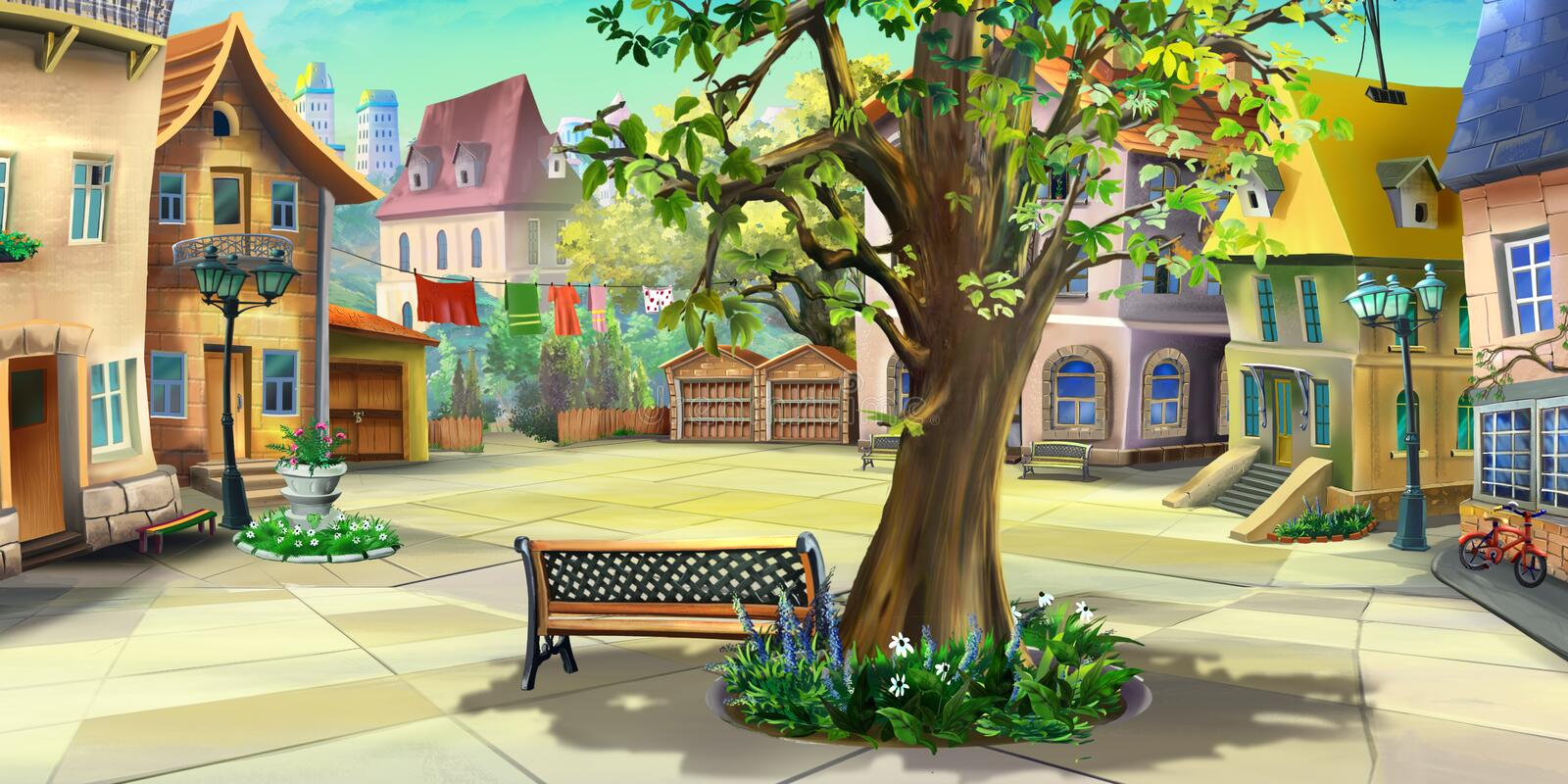 Courtyard in the city. Front view royalty free illustration