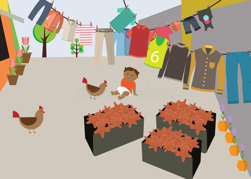 Courtyard in Colombia. Boxes with starfish, baby crawling on the floor, and a lot of chickens free laundry drying on the ropes vector illustration