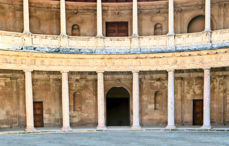 Courtyard with columns stock images