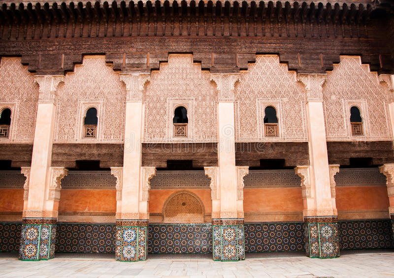 Courtyard decoration in Marrakech, Morocco stock photos