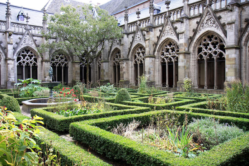 Courtyard of the Dom Church, Utrecht, Holland royalty free stock image