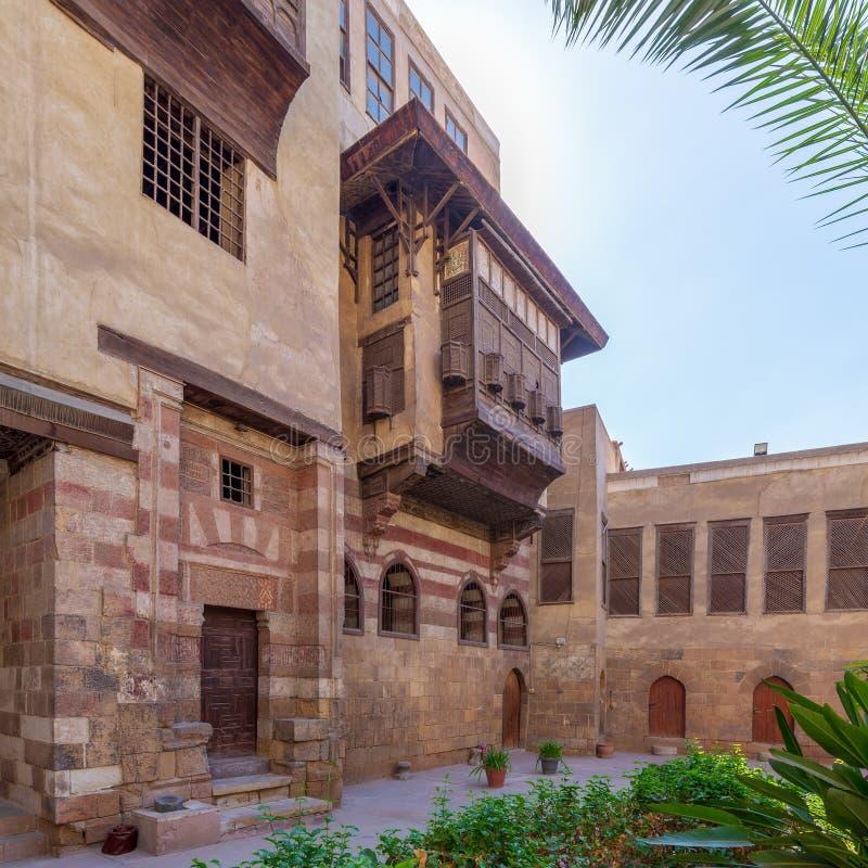 Courtyard of El Razzaz Mamluk era historic house, Darb Al-Ahmar district, Old Cairo, Egypt. Courtyard of El Razzaz Mamluk era historic house, located at Darb Al stock image