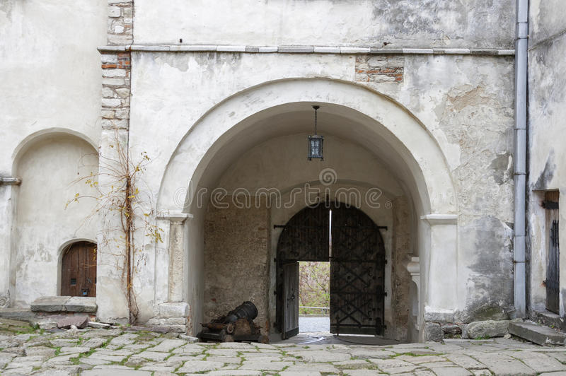 Courtyard and entrance to the Olesko Castle royalty free stock photos