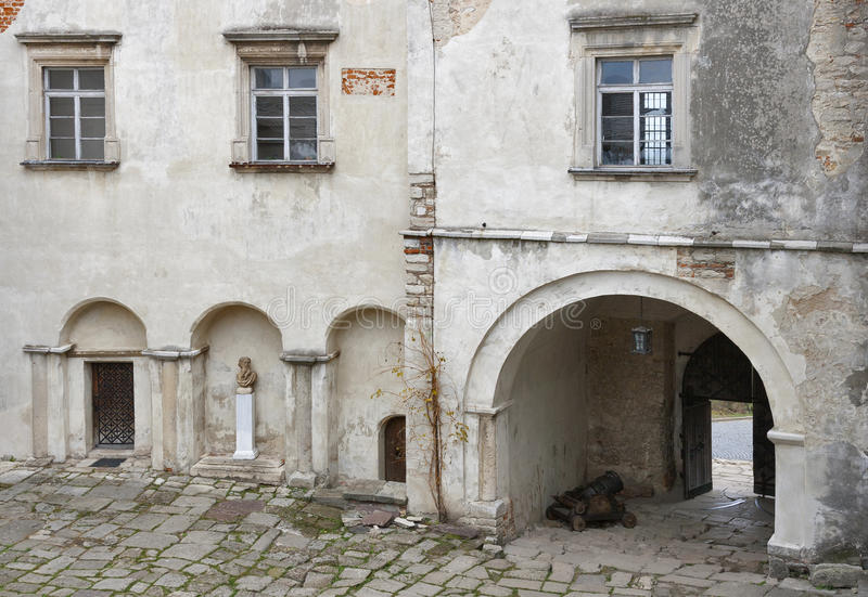 Courtyard and entrance to the Olesko Castle stock images