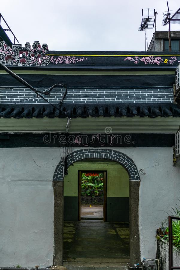 Courtyard entrance in the walled village of Tsang Tai Uk in the Honk Kong New Territories. 1 stock photo