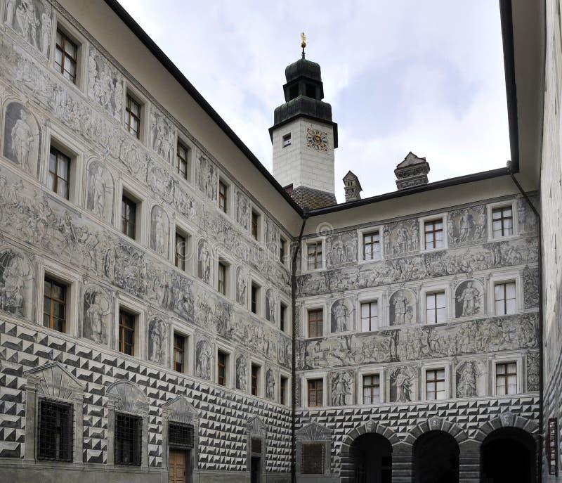 Courtyard Facades. The courtyard facades on walls of Ambras castle in Austria royalty free stock image