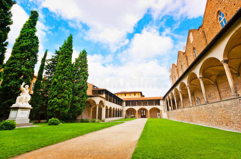 Courtyard of famous Basilica di Santa Croce in Florence, Italy stock photography