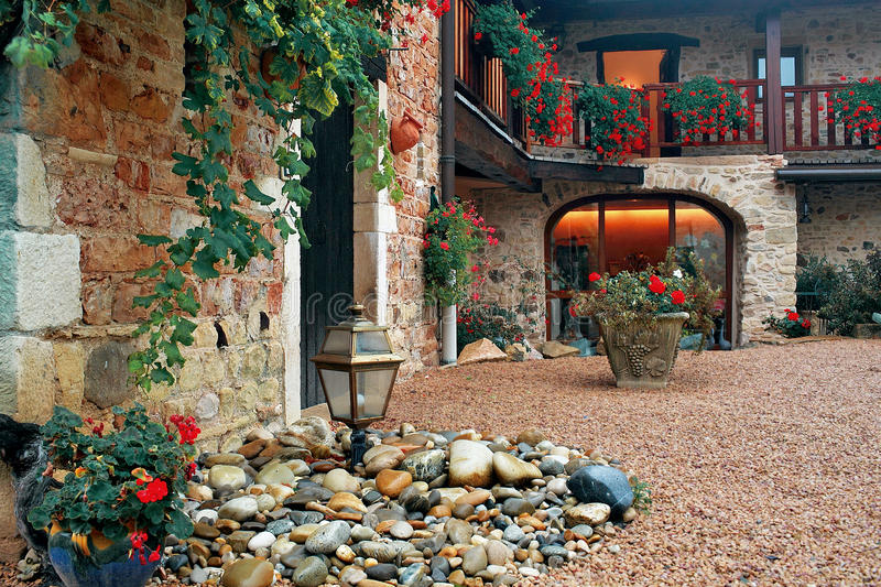 Courtyard with flowers royalty free stock images