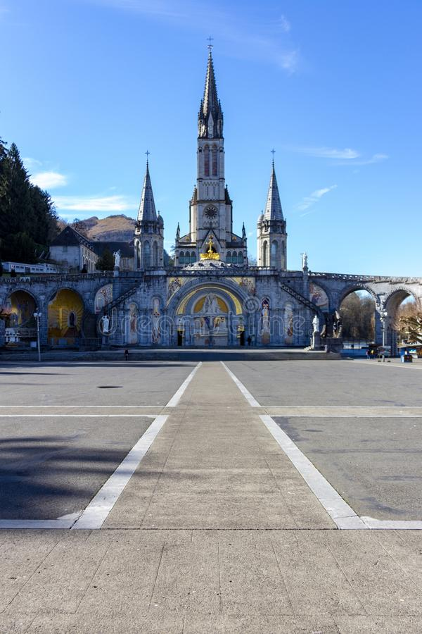 Cathedral Notre Dame in Lourdes, France royalty free stock images