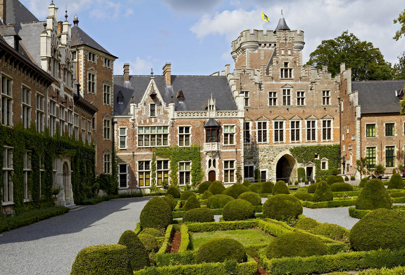 Courtyard of Gaasbeek Castle stock images