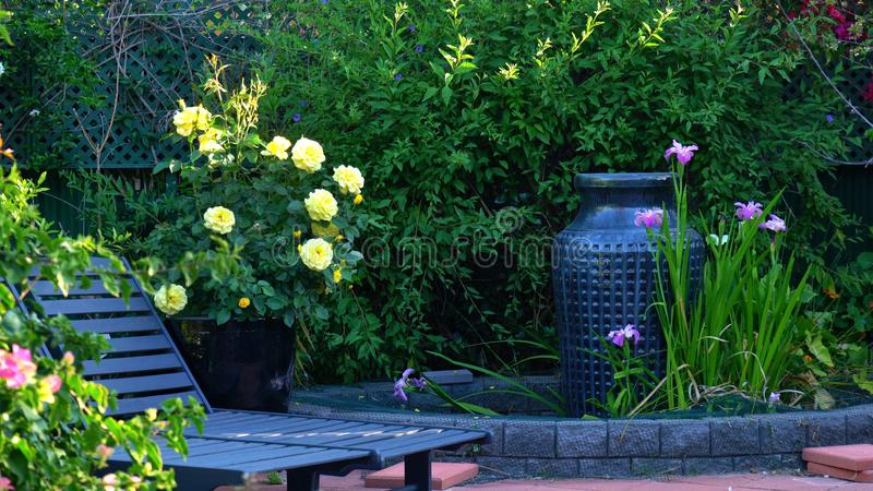 Courtyard garden setting stock photography