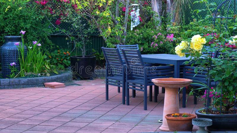 Courtyard garden setting royalty free stock photo