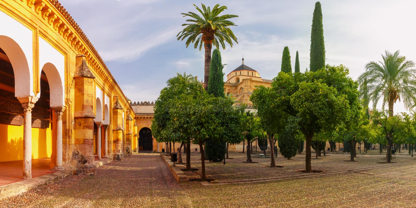 Courtyard of Great Mosque Mezquita, Cordoba, Spain royalty free stock images