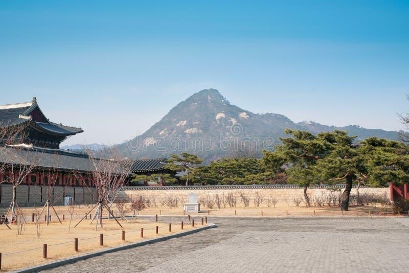 Courtyard beside Gyeongbokgung palace in Seoul, South Korea. The courtyard beside the Gyeongbokgung palace background in Seoul, South Korea stock image