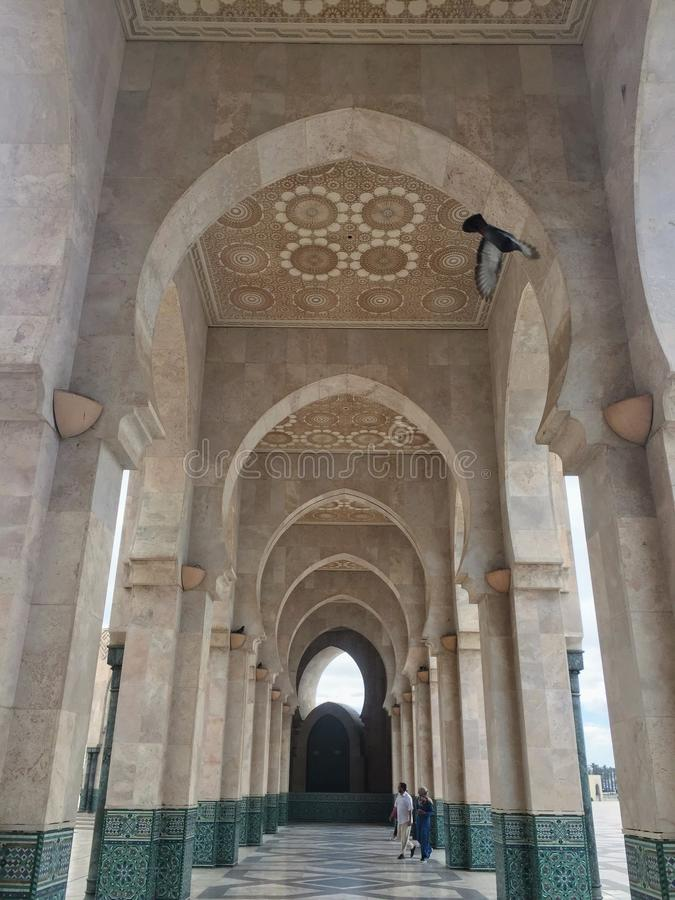 A courtyard in Hassan II Mosque royalty free stock photo