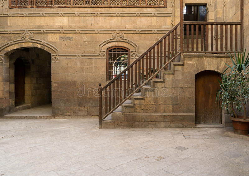 A courtyard of a historic house in Old Cairo, Egypt stock photos