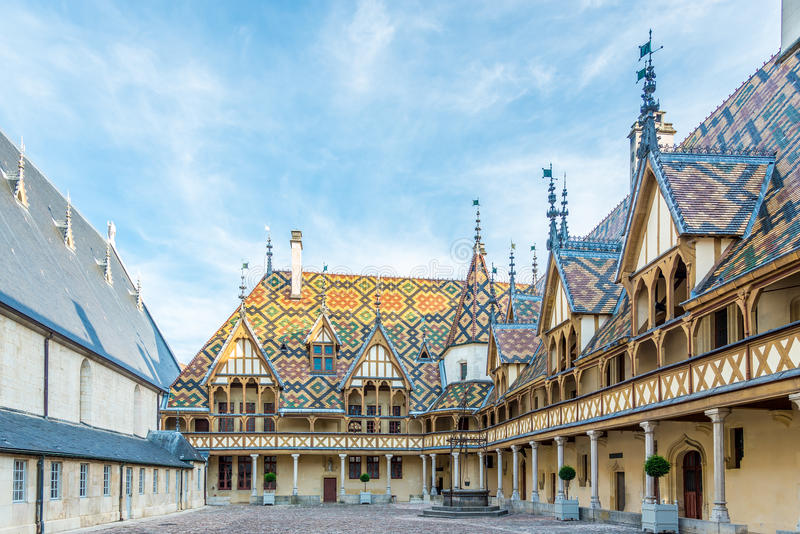 Courtyard of Hospices de Beaune. France royalty free stock images