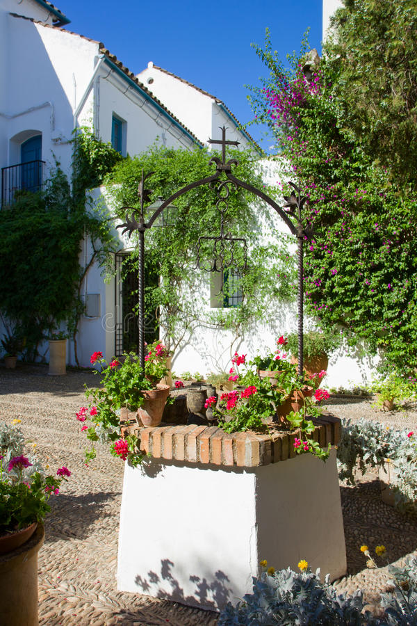 Courtyard of a house in Cordoba, Spain royalty free stock photos