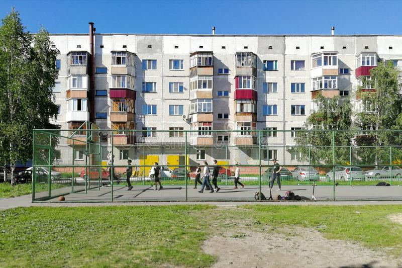 Courtyard houses in the city in Siberia. royalty free stock photo
