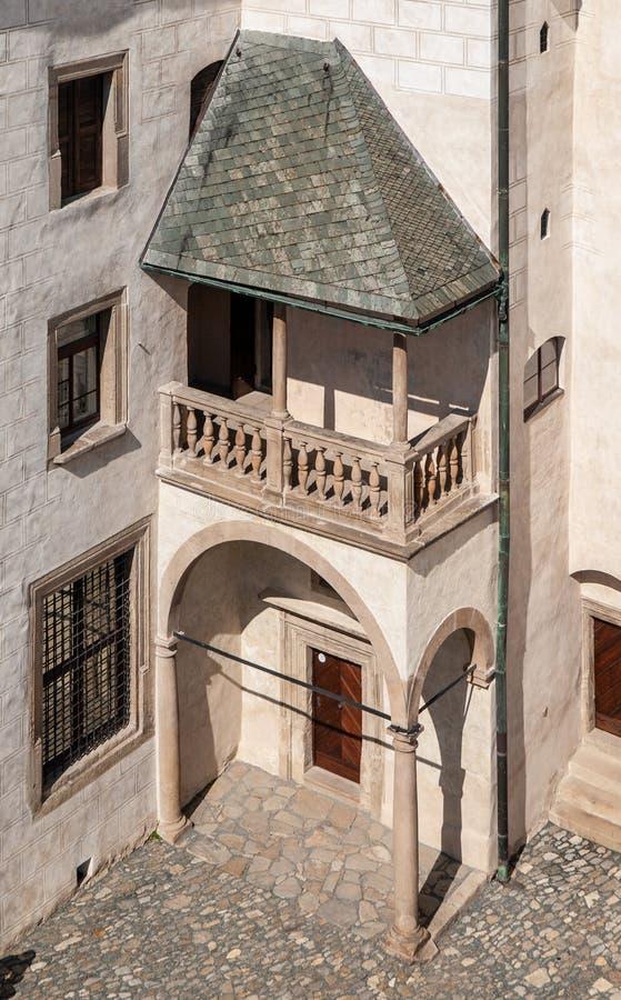 Courtyard of Ledec Caste, Ledec nad Sazavou, Czech Republic. View from castle tower.  stock photos