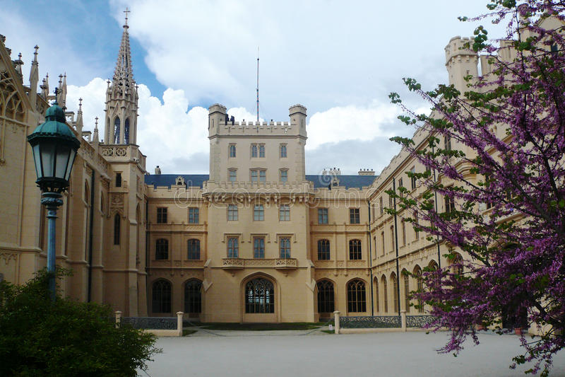 Courtyard of Lednice Chateau in the English Neo-Gothic style stock images