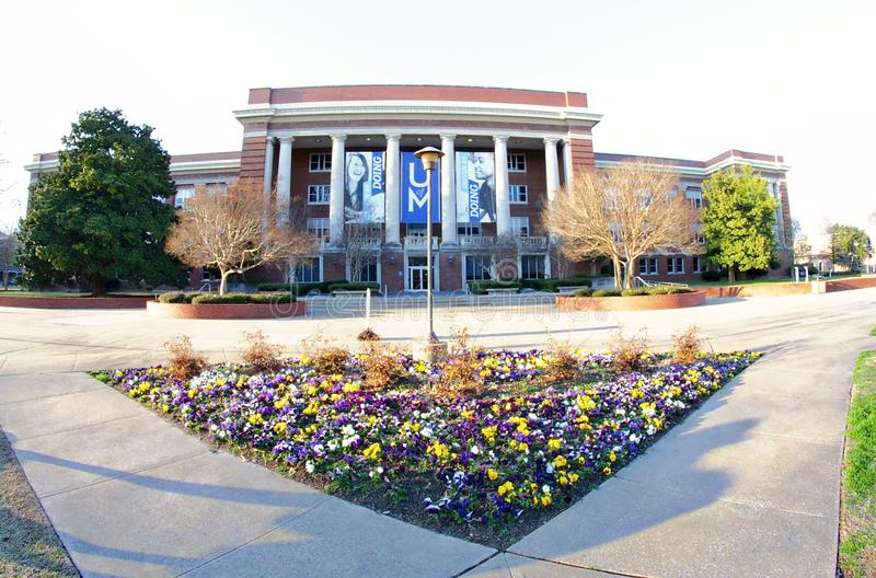 Courtyard at The Main Administration Building at The University of Memphis. College Administration building at the University of Memphis in Memphis, Tennessee royalty free stock images