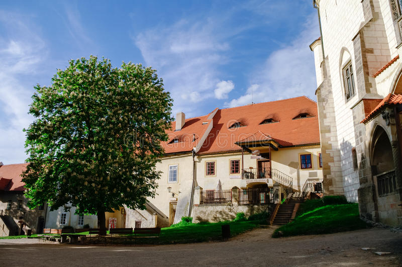 Courtyard of medieval royal gothic castle Krivoklat, Central Bohemia, Czech Republic stock images