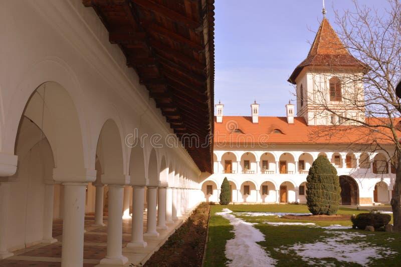 Courtyard of Monastery Sambata. Fagaras, Transylvania. Monastery Sambata is a Romanian Orthodox monastery in Sâmbăta de Sus, Brașov County, in the royalty free stock photography