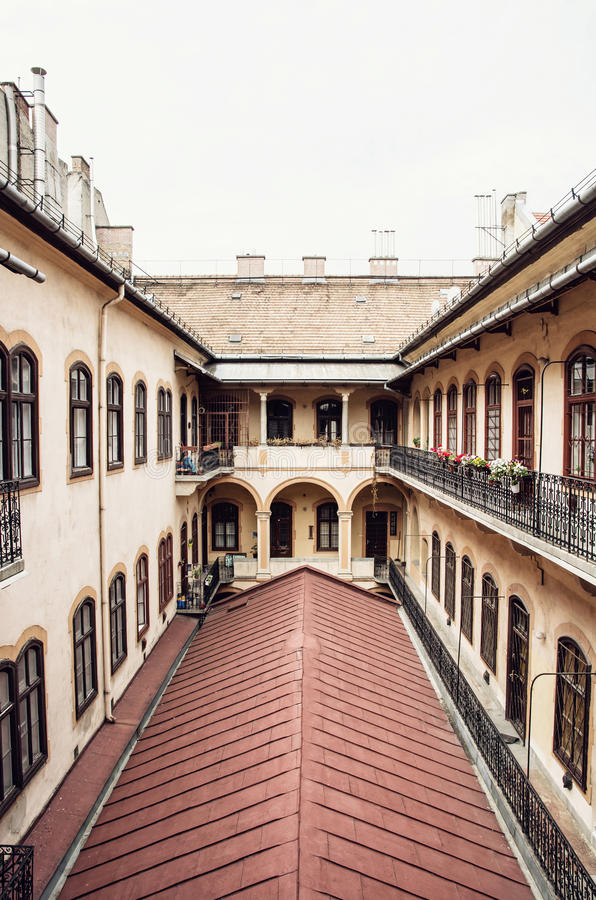 Courtyard of old building in historic centre of Budapest, Hungary stock photos