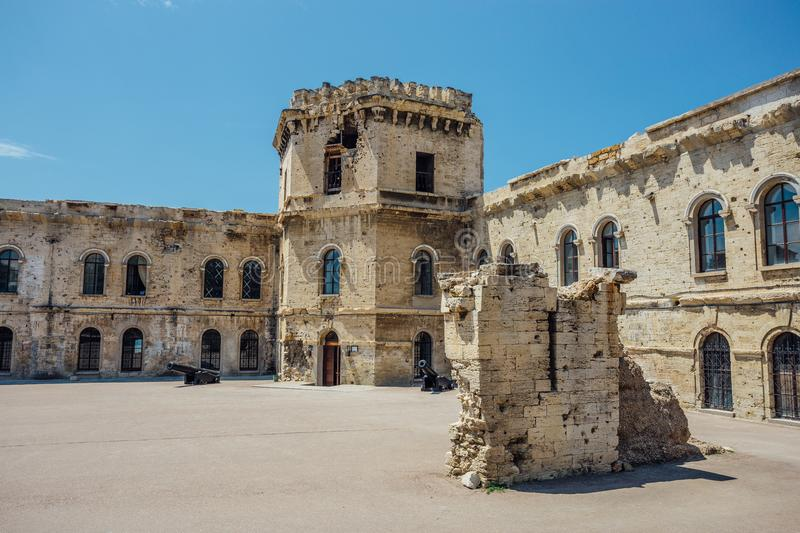 Courtyard of old coastal Michael`s fortress, echo of war. In Sevastopol, Crimea stock photos
