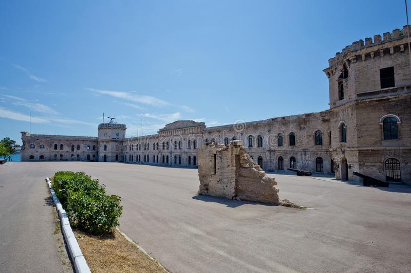 Courtyard of old coastal Michael`s fortress in Sevastopol, Crimea.  stock images