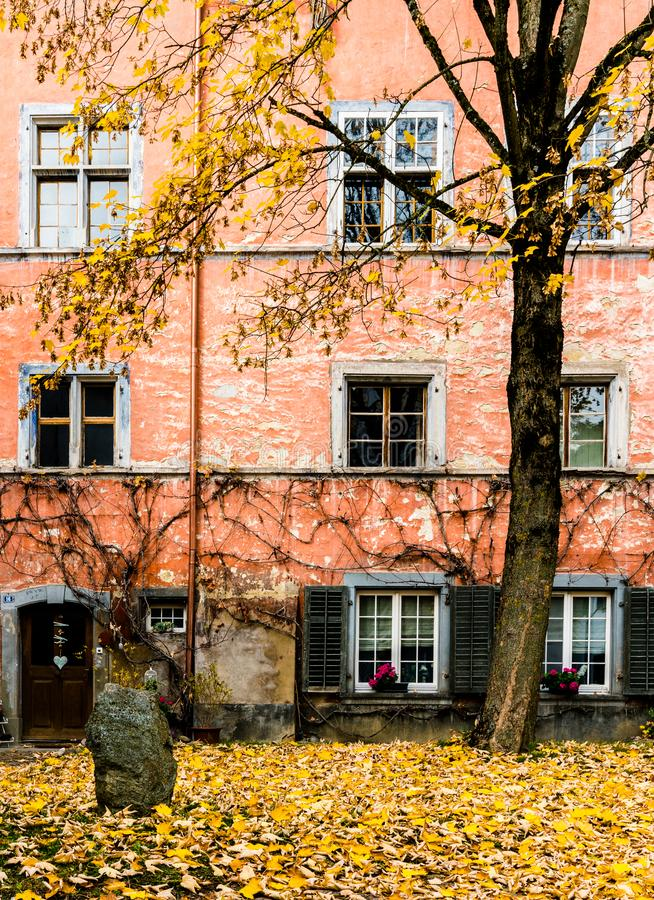 Courtyard with old rustic house front in typical northeast Swiss architecture and autumn color tree and leaves in the foreground royalty free stock photos