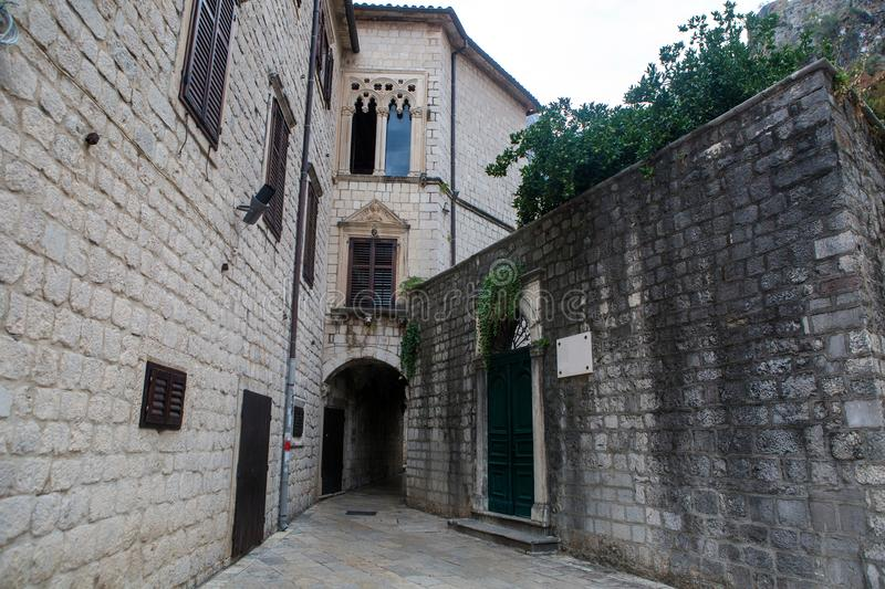 Courtyard of the old town in Kotor stock photography