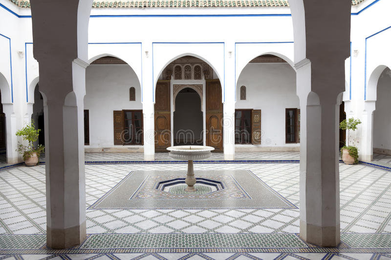 Courtyard in Palais de la Bahia Marrakech Morocco. Courtyard in Palais de la Bahia with mosaic on the floor Marrakech, Morocco, April 1, 2012 royalty free stock images