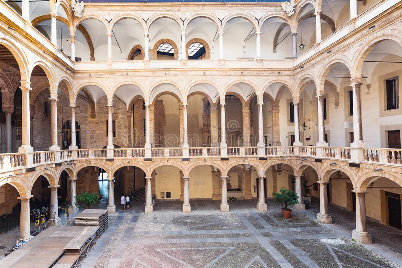 Courtyard of Palazzo dei Normanni in Palermo city stock photos