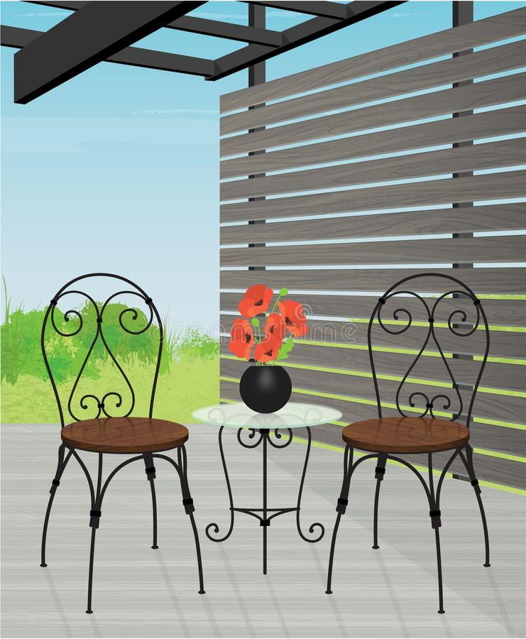 Courtyard Patio with Bistro Set royalty free stock photo