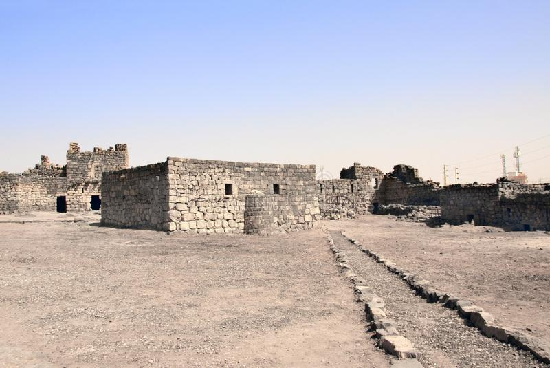 Courtyard of Qasr al-Azraq medieval fort, Jordan. Courtyard of Qasr al-Azraq is one of the Desert castles - medieval fort where Thomas Edward Lawrence Lawrence royalty free stock image