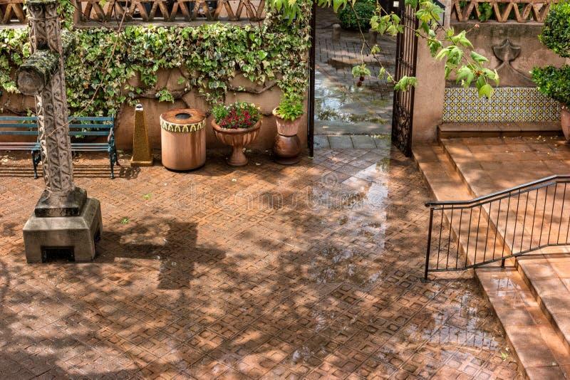 Courtyard after a rain, Tlaquepaque in Sedona, Arizona. Tlaquepaque courtyard, Sedona, Arizona, after a Spring rain stock photos