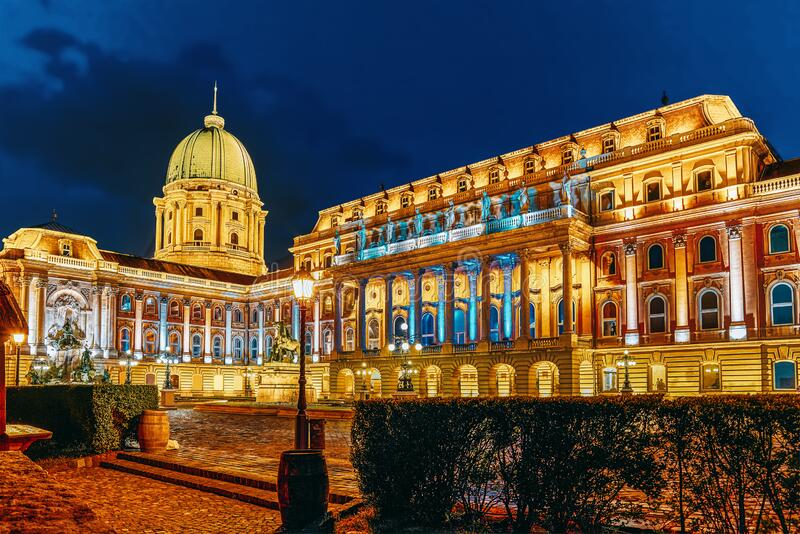 Courtyard of the Royal Palace in Budapest. Night time. Hungary.  stock image