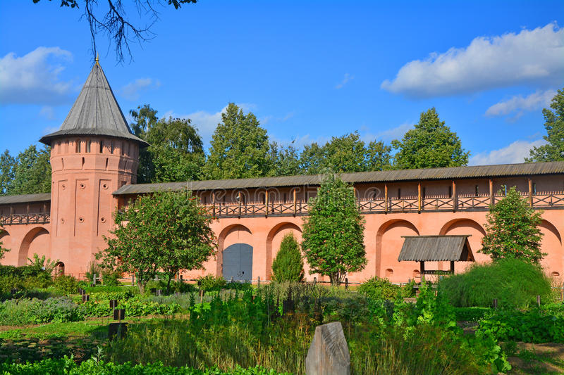The courtyard of Spaso-Evfimiyevsky monastery in Suzdal, Russia stock images